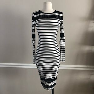 Black & White Fitted Sweater Dress